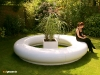 Halo modular seating with cube planter