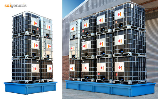 Store up to six, nine or twelve IBC tanks on one bund unit