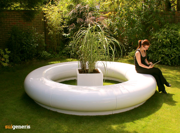 Halo modular seating, with Cube planter