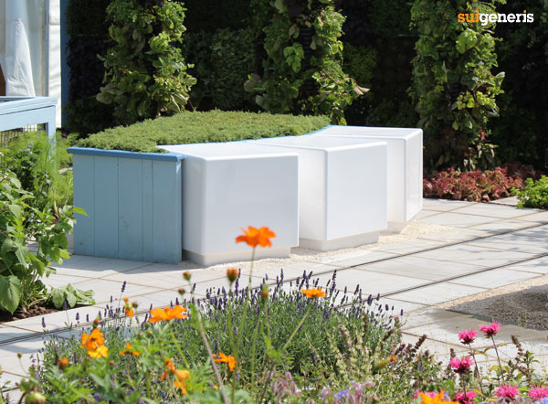 Cube seating for urban garden landscape design.