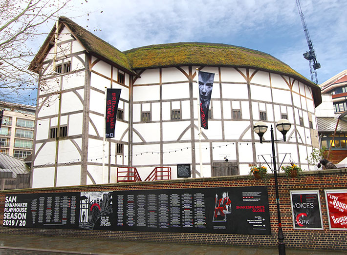 The world-famous Shakespeare's Globe Theatre venue attracts thousands of visitors each year.