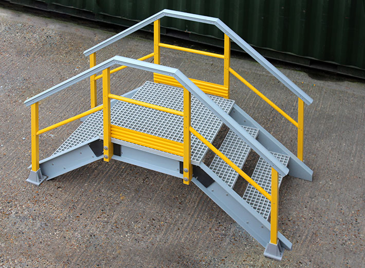 GRP Up and Over Stair Access Platform. Access over pipe work, cable trays, ducting, gutters and walls.
