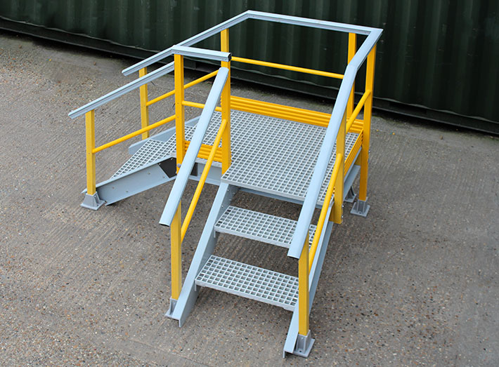 GRP right angled Up and Over Stair Access Platform. Enabling safe access and clear demarcation of allowable walking routes.