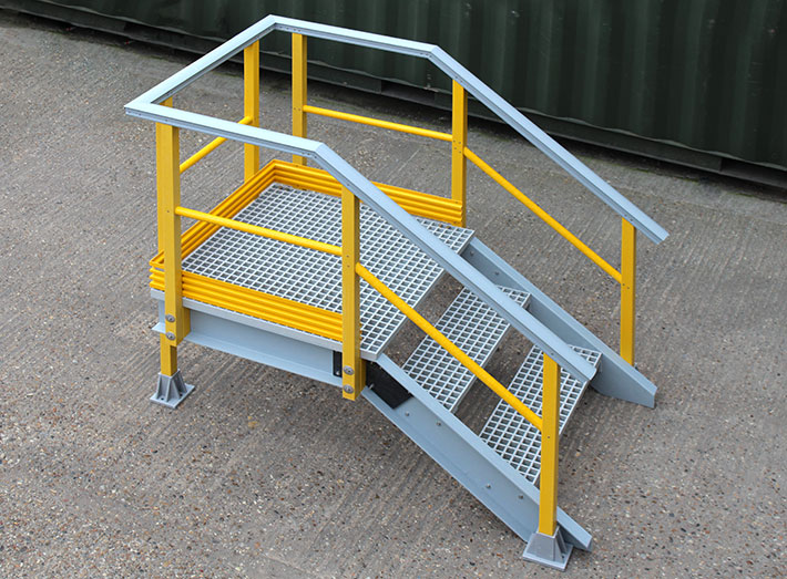 GRP stair Viewing, Operating or Doorway Access Platform. For walkways, doorway access and inspection platforms.