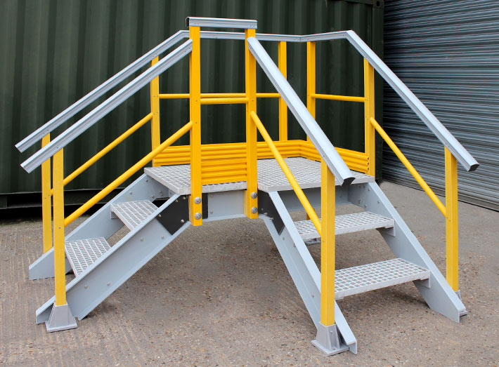 GRP right angled Up and Over Stair Access Platform. Designed for customer bespoke sizes and specifications.