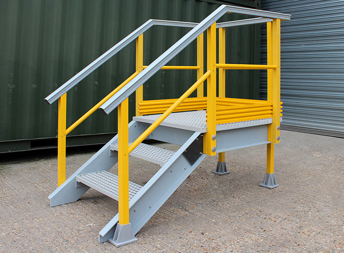 GRP stair Viewing, Operating or Doorway Access Platform. With grating stair, safety handrails and kick plate options.