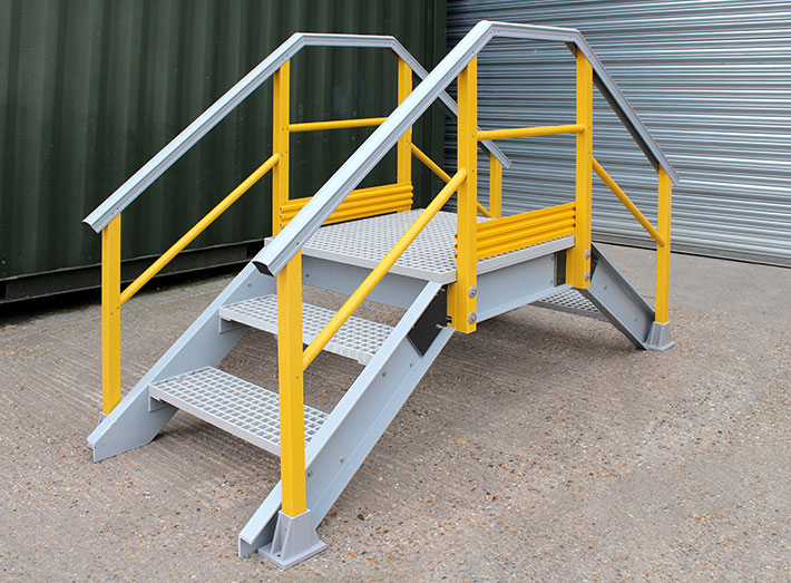 GRP Up and Over Stair Access Platform. Designed for bund access and walkways.
