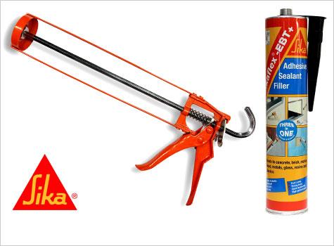 6. Sikaflex adhesive sealant and glue gun.