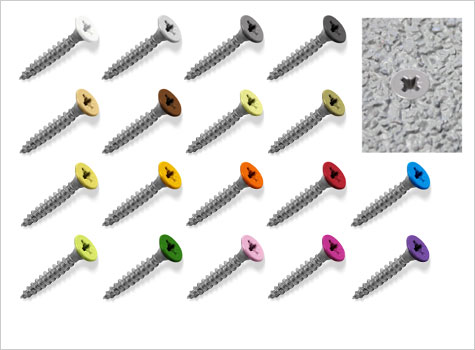 1. Coloured top, stainless steel, countersunk, pozi screw fixings.