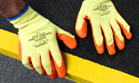 Safety Gloves with flexible crinkle latex coating for good wet and dry grip. Offers hand protection from abrasion, scratches and dirt.