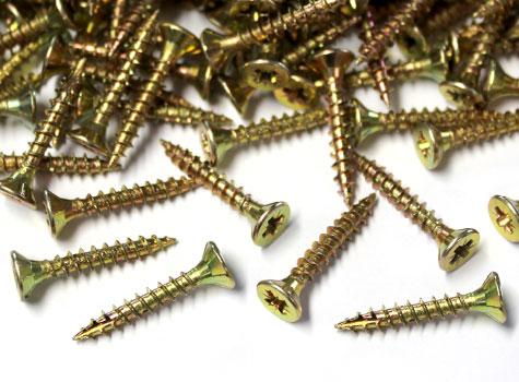 5. Zinc yellow tinted, self-cutting, countersunk screws.