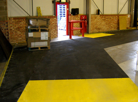 2. Anti-Slip Floor Sheets factory forklift loading area and walkway installation.
