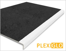 Extra Deep Stair Tread Cover - Black Tread & White, Glow in the Dark Nosing