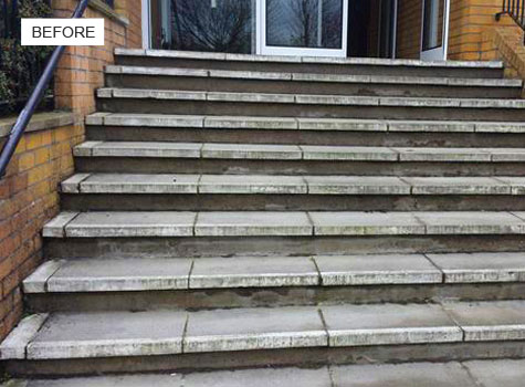 8. Installation of anti-slip nosing to concrete paving steps.