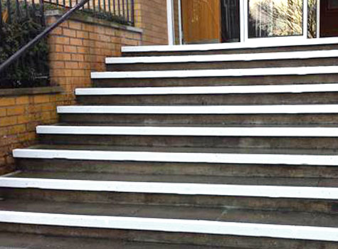 9. Highlight step edges with slip resistant GRP Nosings to prevent workplace slips.