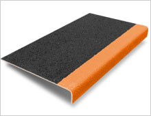 Stair Tread Cover - Black with Orange Nosing