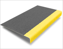 Stair Tread Cover - Dark Grey & Yellow
