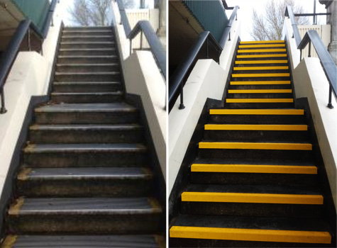6. Before and after fitting non-slip stair treads.