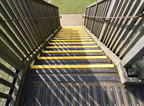 Anti-slip stair nosing and decking strips for slippery timber areas.