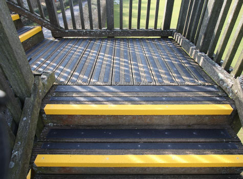 Nosing and decking strips applied to stairs and landings.