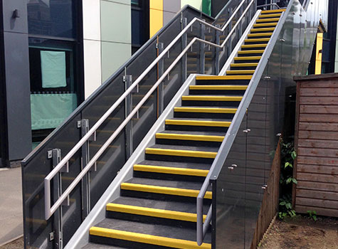 Anti-slip treads, for stairs, landing areas, and floor sheets for platform areas.