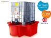 IBC sump pallet IBC spill containment in red grp - catch leaks & drips