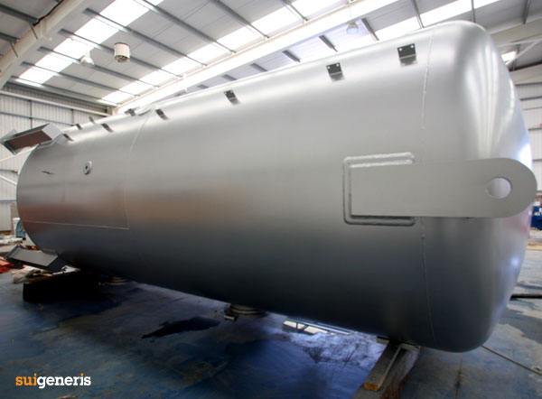 Chemical resistant tank coating completed for a 2 chamber, steel cylindrical vertical tank.