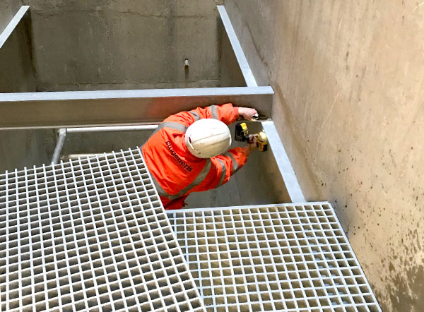 GRP grating can be up to 80% lighter than steel meaning easier transportation around site without the need for heavy lifting equipment.