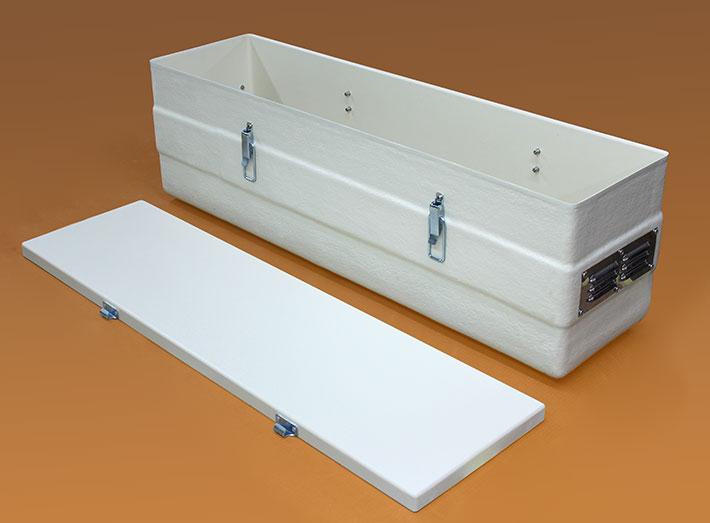 Sturdy, economical GRP battery box suitable for acid batteries.