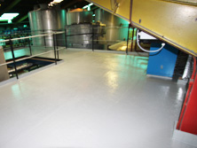 Floor lining with GRP fibreglass