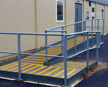 Access ramp with decking stripsAccess ramp with decking strips