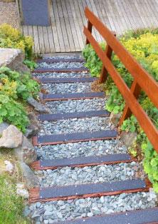 Garden steps with decking strips