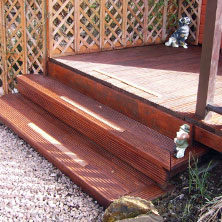Steps and decking with GRP strips