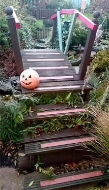 Decking strips garden installation