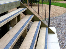 Decking strips garden steps