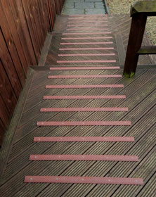 Decking strips for garden decking
