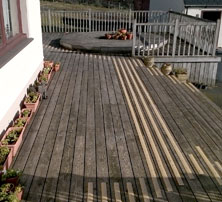 Decking strips garden decking area