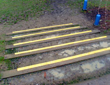 Slippery footpaths with step strips