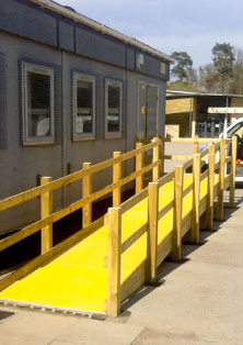Access ramp with anti-slip floor sheets