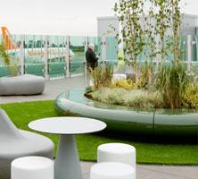 Corona circular planter at Bristol Airport