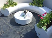 Halo seating & planters at RHS Malvern