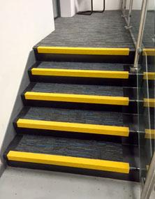 Interior stairways with stair nosings