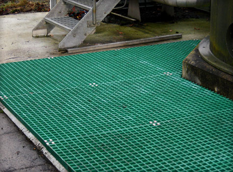 9. Fibreglass grating installation.