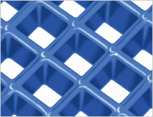Concave fibreglass mesh grating