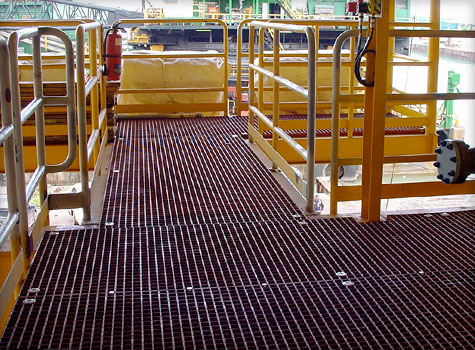5. Grating for walkways, loading docks, gantries and work stations.