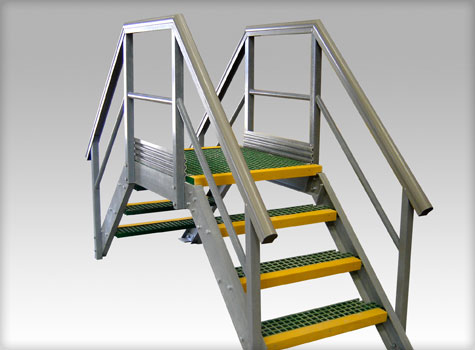 14. GRP Grating steps, part of a composite access system.