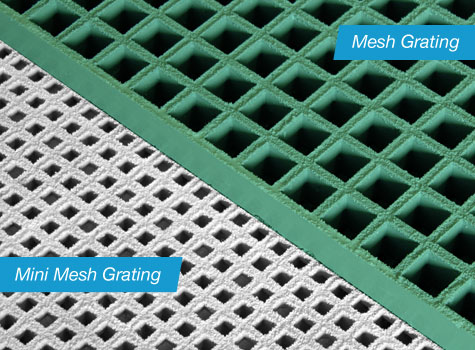 2. Mini-mesh grating compared to open mesh grating.
