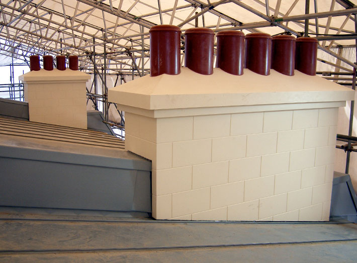 GRP moulded chimney replicas.