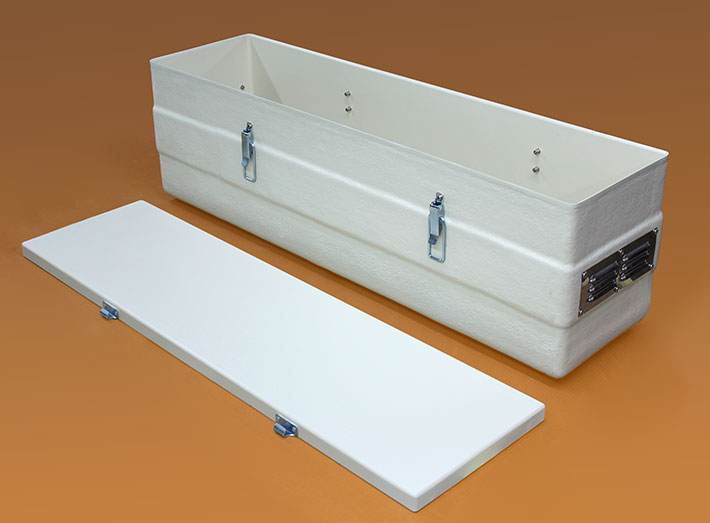 GRP container with lid, box latches and vents. Durable, corrosion free, stable and low maintenance.