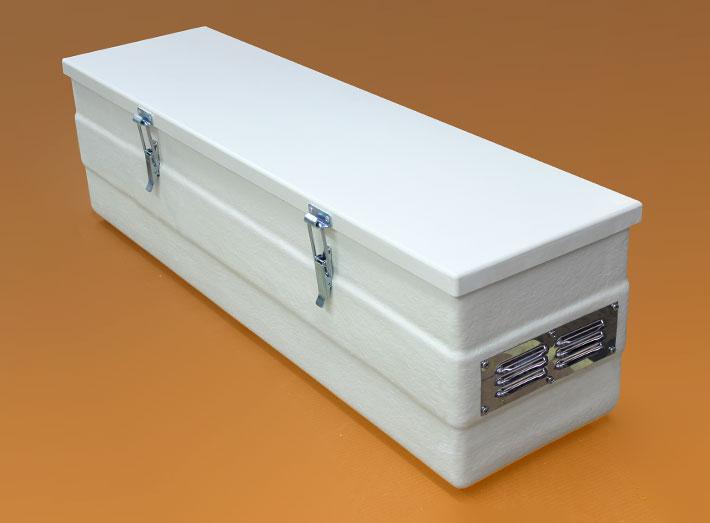 Sturdy, economical GRP or fibreglass battery box suitable for acid batteries.